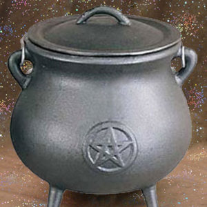 cast iron pentacle cauldron