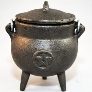 cast iron cauldron with pentacle